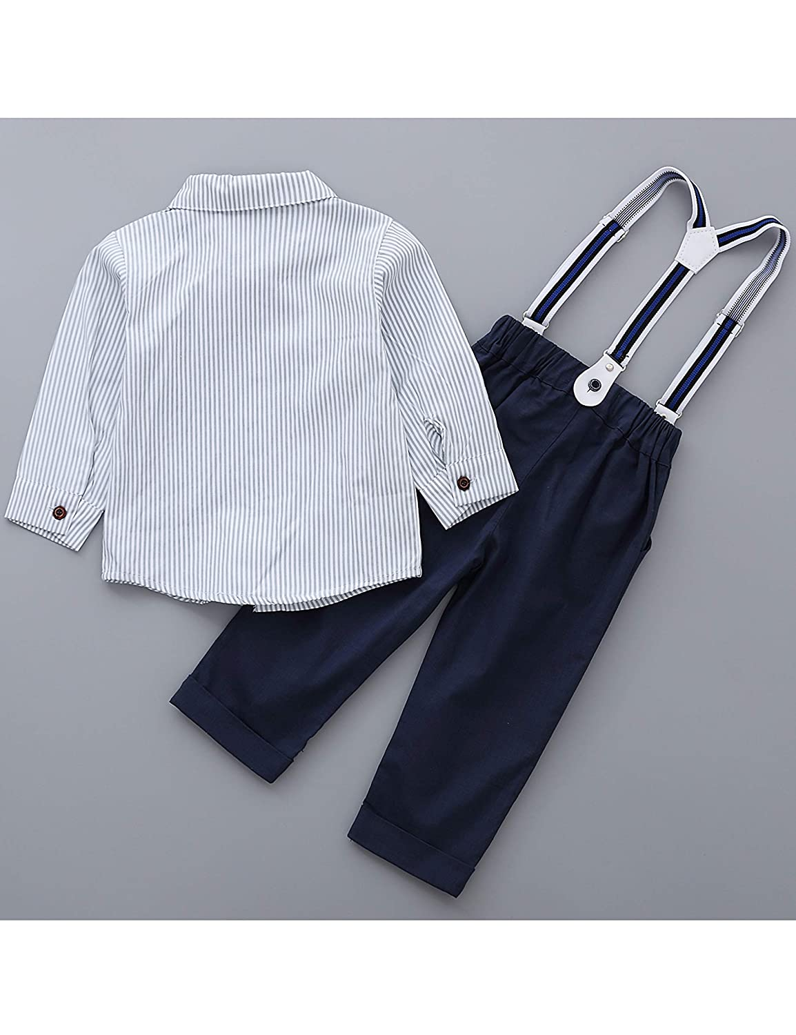 1-5 Years Toddler Little Boys Long Sleeve Bowtie Shirts with Suspenders Pants Genterman Clothes Outfits Suits Set