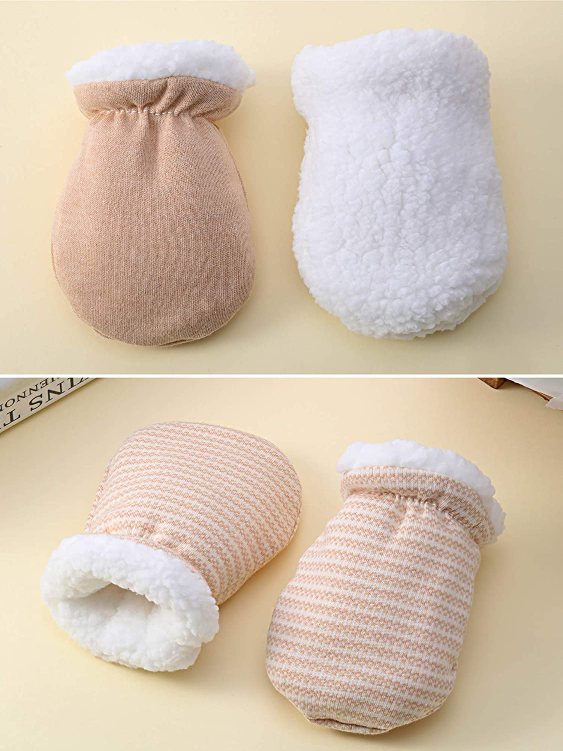 Blulu 3 Pairs Baby Mitten Gloves Warm Cotton Gloves Baby Boys Girls Winter Mittens Infant Newborn Wool Lined Mittens for 0-12 Months