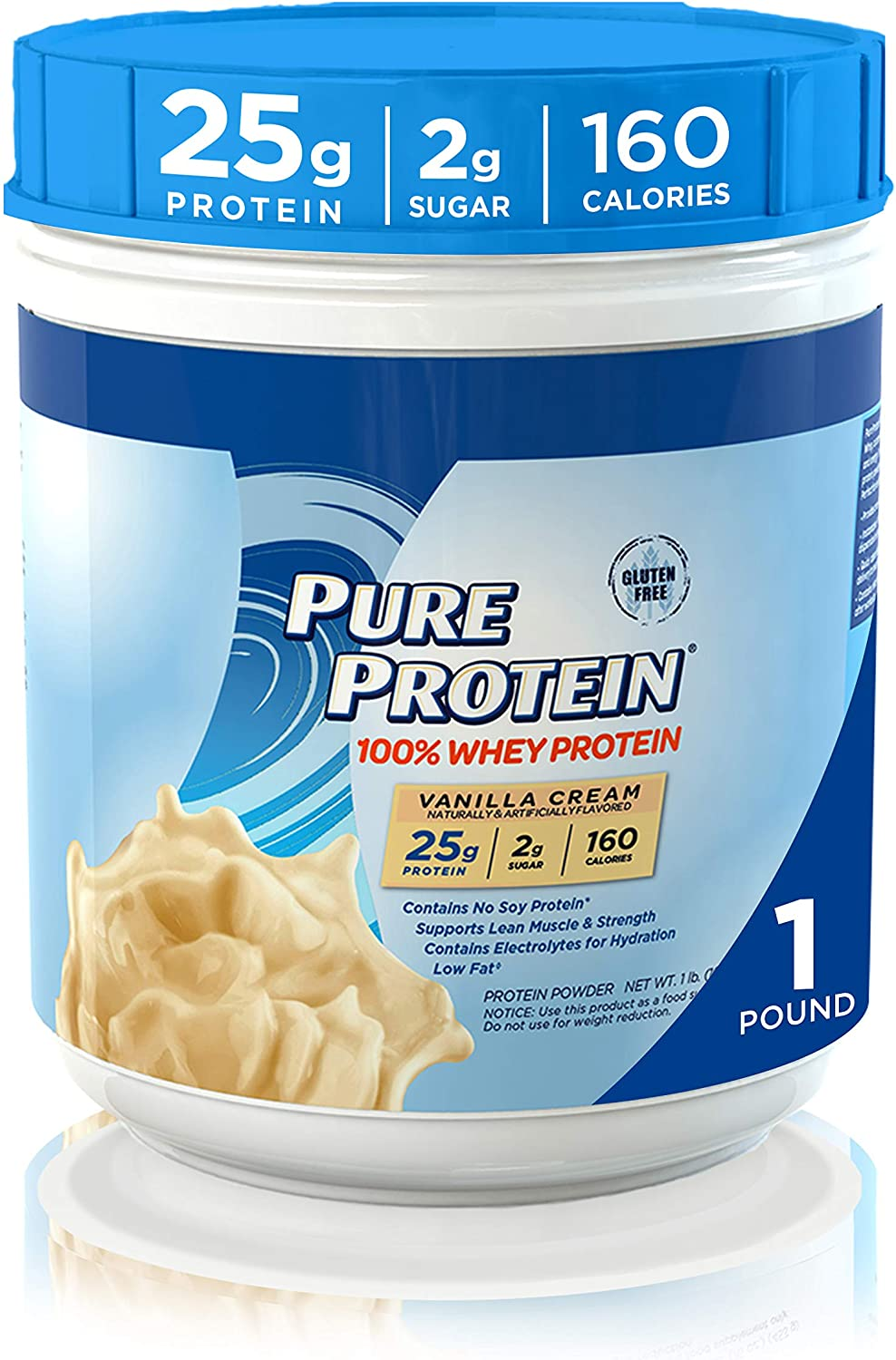Whey Protein Powder by Pure Protein, Gluten Free, Vanilla Cream, 1lb