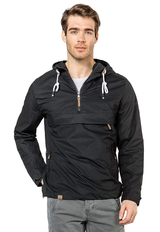 Eight2Nine leichte Herren Schlupf Jacke mit Kapuze Half Zip