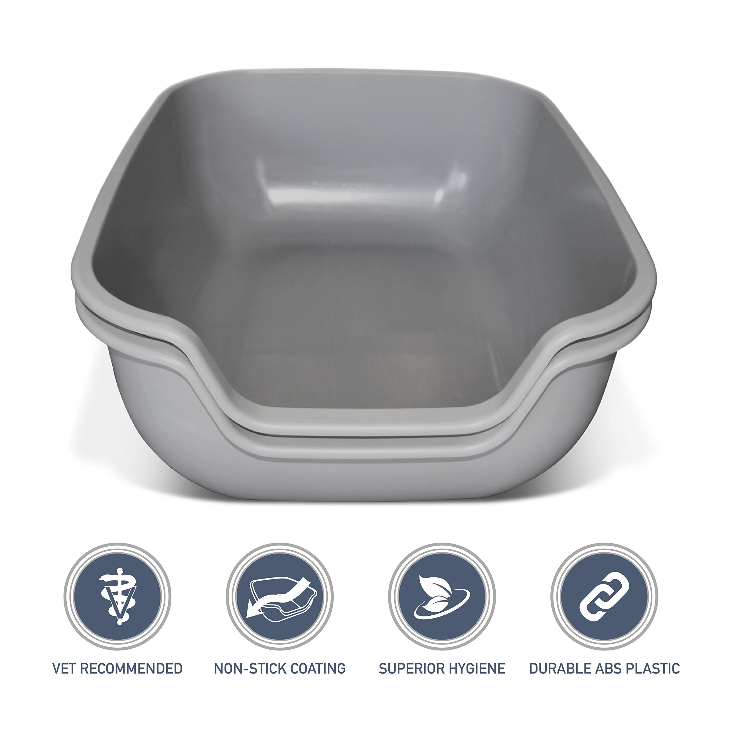PetFusion BetterBox LARGE Cat Litter Box (set of 2). STRONGER ABS plastic. NON-STICK COATING for superior hygiene & easier cleaning. [Also comes in single]