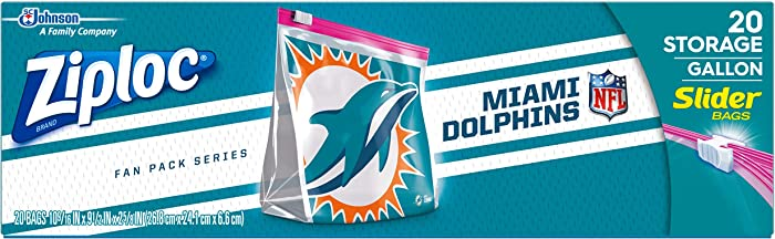 Ziploc Slider Storage Gallon Bag, Great for Grab-and-go Snacking, Tailgating or homegating, 20 Count- NFL Miami Dolphins