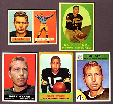 Bart Starr 5 Card Topps Reprint Lot Including 1957