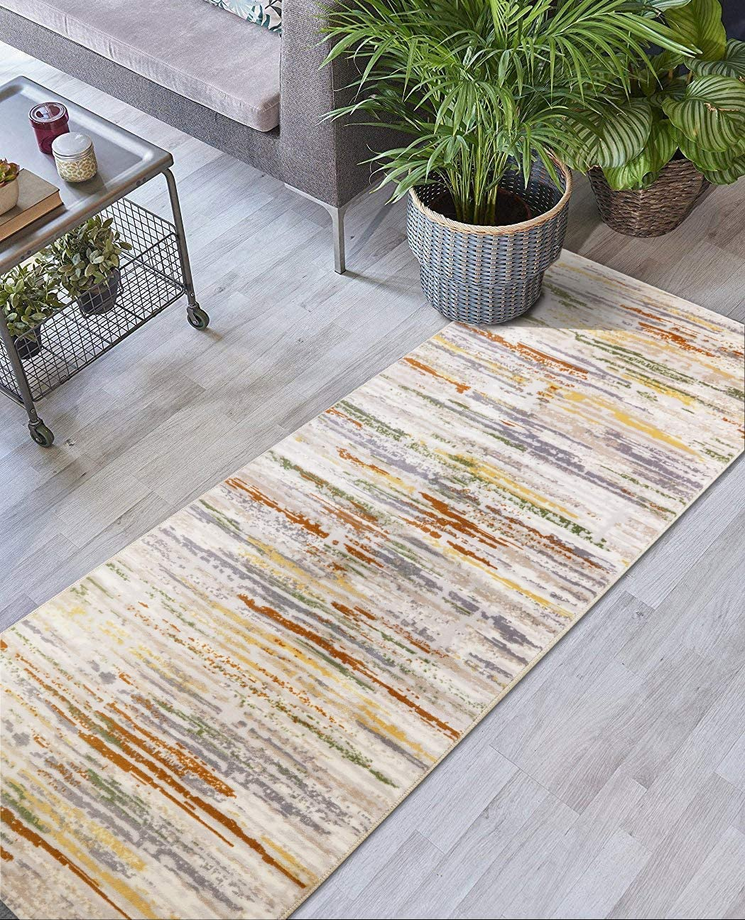 ORFA HOME Custom Size Hallway Runner Rug, Slip Resistant, 39 inch Wide X Your Choice of Length, Striped, 39 inch X 5 feet