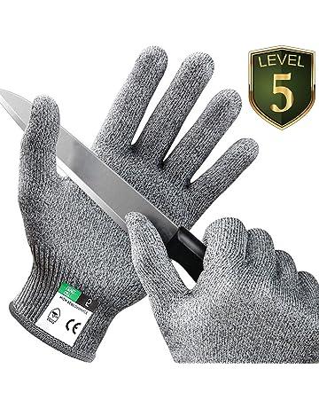 Prevecion de Corte Vgo 5Pares Guantes Nivel 5 EN388 Resistentes al Corte Talla 8//M, Gris, SK2131
