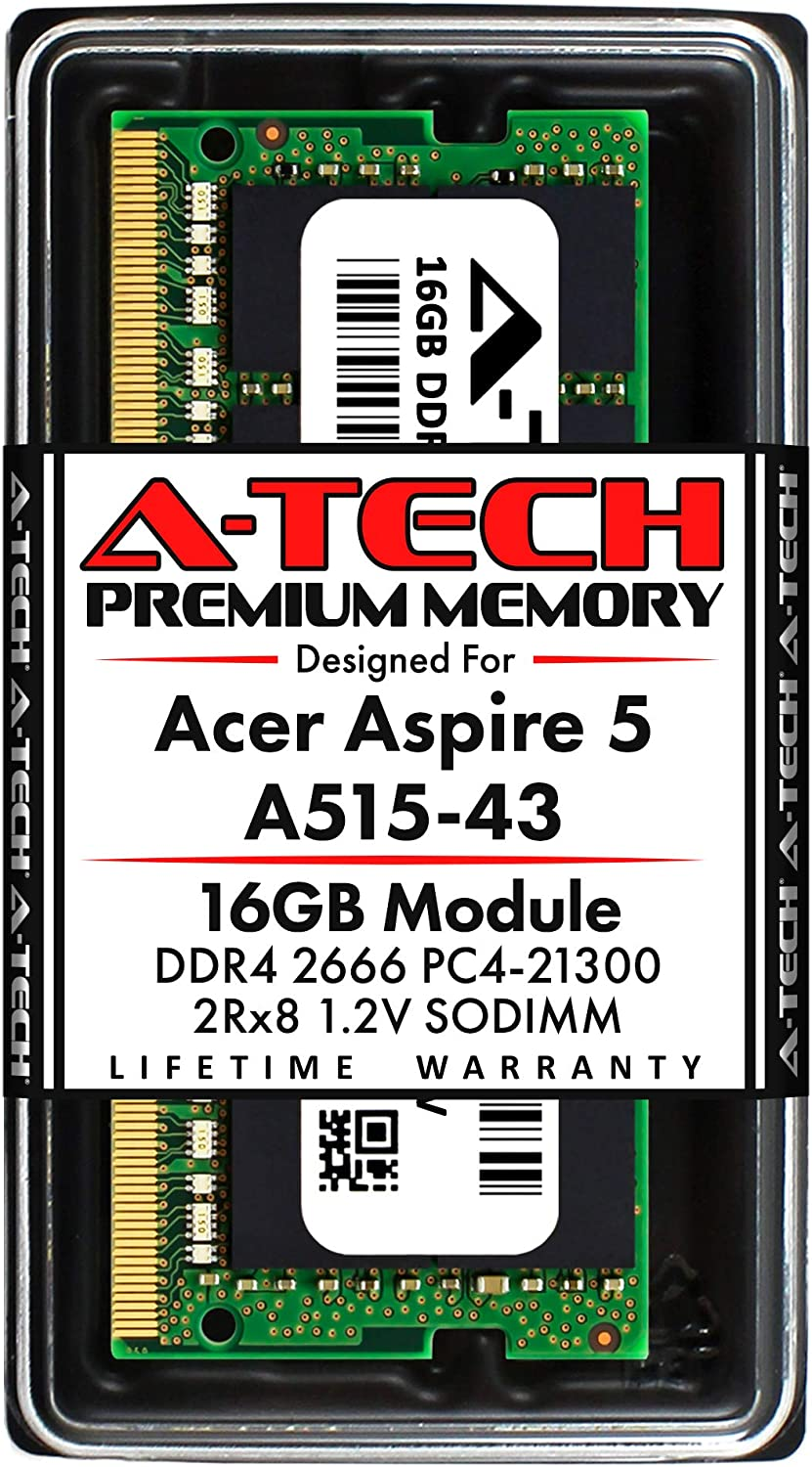 A-Tech 16GB RAM for Acer Aspire 5 Slim Laptop A515-43 | DDR4 2666MHz SODIMM PC4-21300 260-Pin CL19 1.2V Non-ECC Unbuffered Memory Upgrade Module