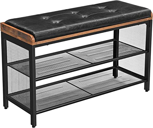 VASAGLE COPADION Shoe Bench, Padded Storage Bench with Mesh Shelf, Shoe Rack, Metal Frame, Easy Assembly, Space Saving, Industrial, Black Imitation Leather, Hallway ULBS75X