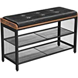 VASAGLE Storage Chests, Shoe Bench, Padded Storage Bench with Mesh Shelf, Shoe Rack, Metal Frame, Easy Assembly, Space…
