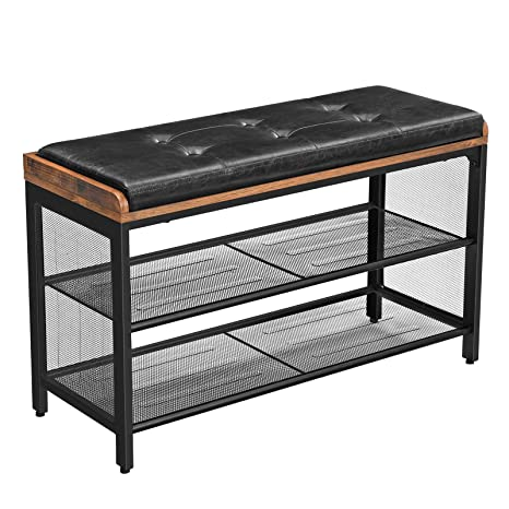 Fabulous Vasagle Copadion Shoe Bench Padded Storage Bench With Mesh Shelf Shoe Rack Metal Frame Easy Assembly Space Saving Industrial Black Imitation Bralicious Painted Fabric Chair Ideas Braliciousco