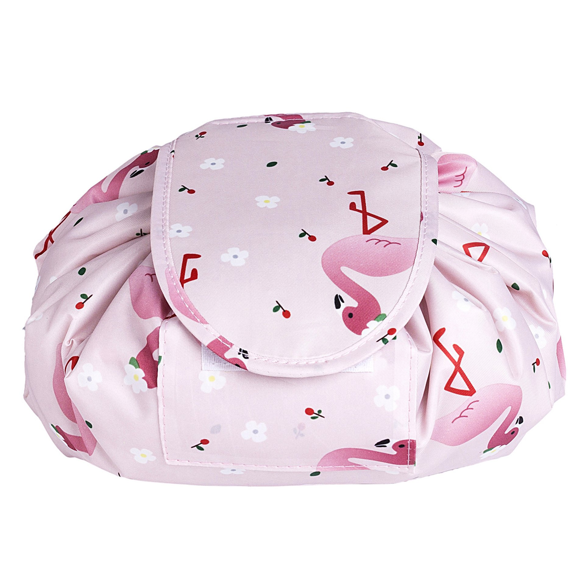Portable Drawstring Cosmetic Bag Large Capacity Lazy Travel Makeup Pouch magic Toiletry Bag for Womens Girls,Pink Flamingo