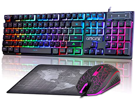 Gaming LED Wired Keyboard and Mouse Combo with Emitting Character 3200DPI  USB Mouse Multimedia Keys Rainbow Backlight Mechanical Feeling for PC