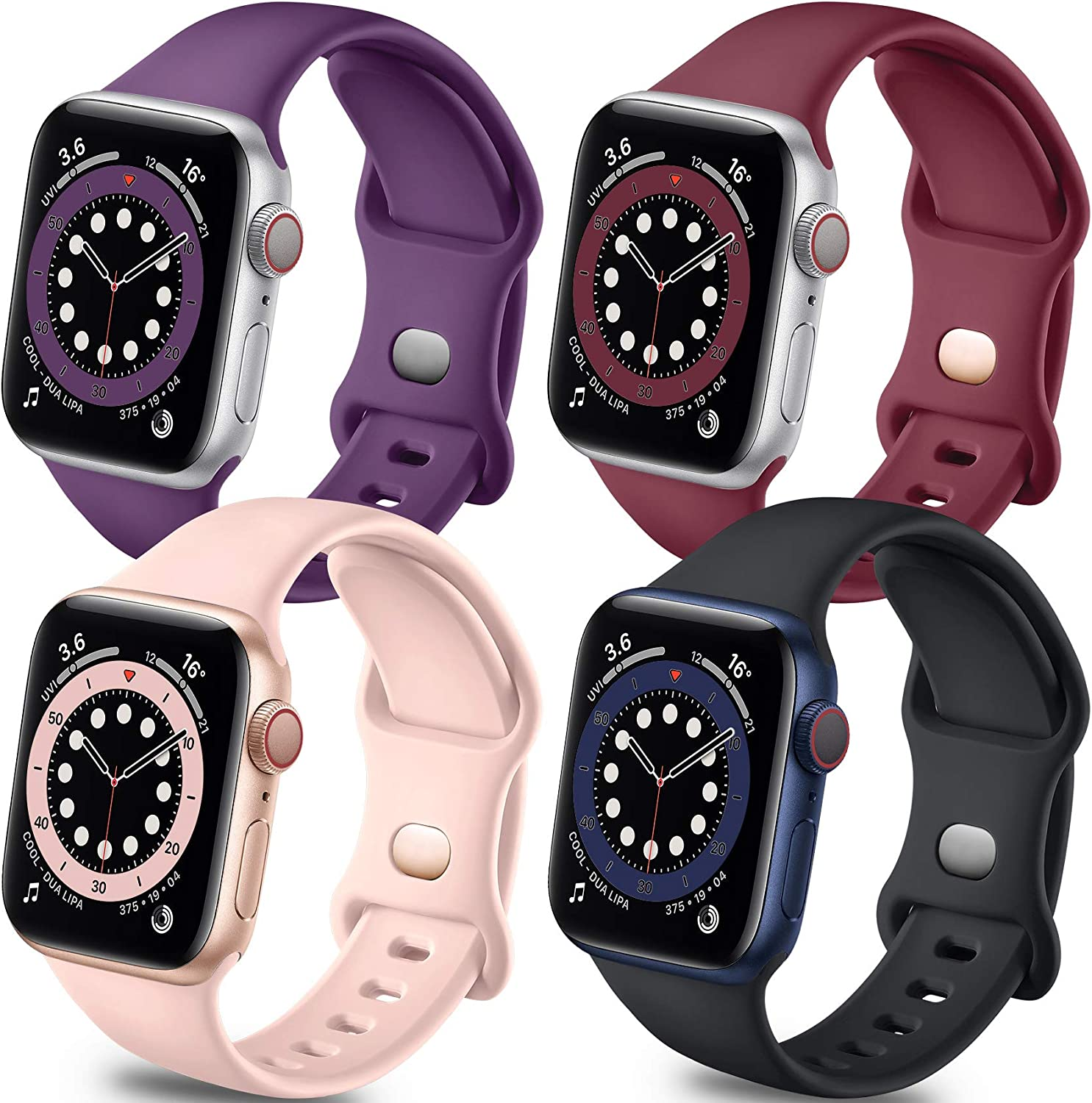 Getino Band Compatible with Apple Watch 40mm 38mm iWatch SE & Series 6 5 4 3 2 1, Stylish Breathable Soft Silicone Replacement Strap for Women Men, 4 Pack, Black, Wine Red, Pink Sand, Purple, M/L