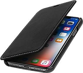 StilGut Custodia per Apple iPhone X/iPhone XS a Libro in Pelle, Nero Nappa