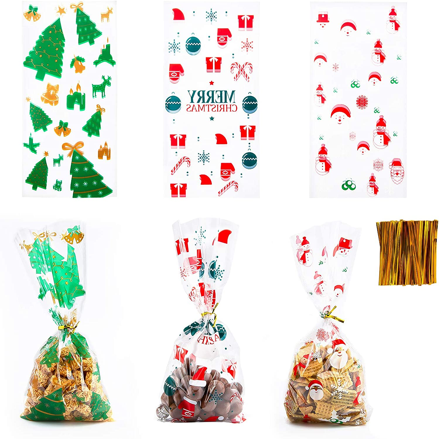 AIEX 150 PCS 10.6 x 4.9 Inch Clear Christmas Cellophane Snack Bags, Xmas Cookie Candy Pet Gift Bags with 150Pcs Twist Ties for Bakery Biscuit Snacks, Christmas Party Favors, Homemade Craft