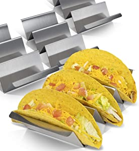 Taco Holder Set of 4 - Stainless Steel Taco Stand - Dishwasher & Oven Save - Easy To Fill Taco Rack And Perfect To Keep Your Delicious Tacos