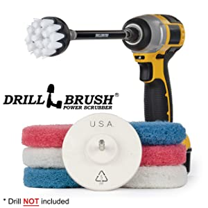 Cleaning - Drill Brush Power Scrubber Pads - Scrub Brush - Scouring Pads - Refrigerator - Range Hood - Oven Rack - Kitchen Sink - Bathroom - Shower Cleaner - Bathtub - Bathroom Sink - Vinyl Flooring