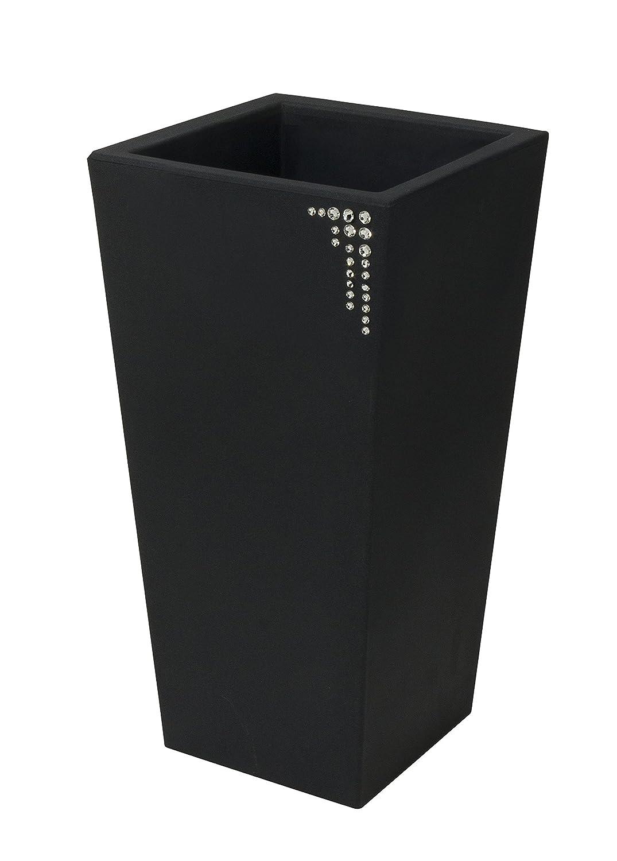 Blumentopf / Pflanztopf Nicoli Eros mit original Swarovski Kristallen, Motiv Symbol, B30 x H60 x T30 cm, anthrazit, matt, 14 l Inhalt, für Innen und Außen, aus hochwertigem Polyethylen