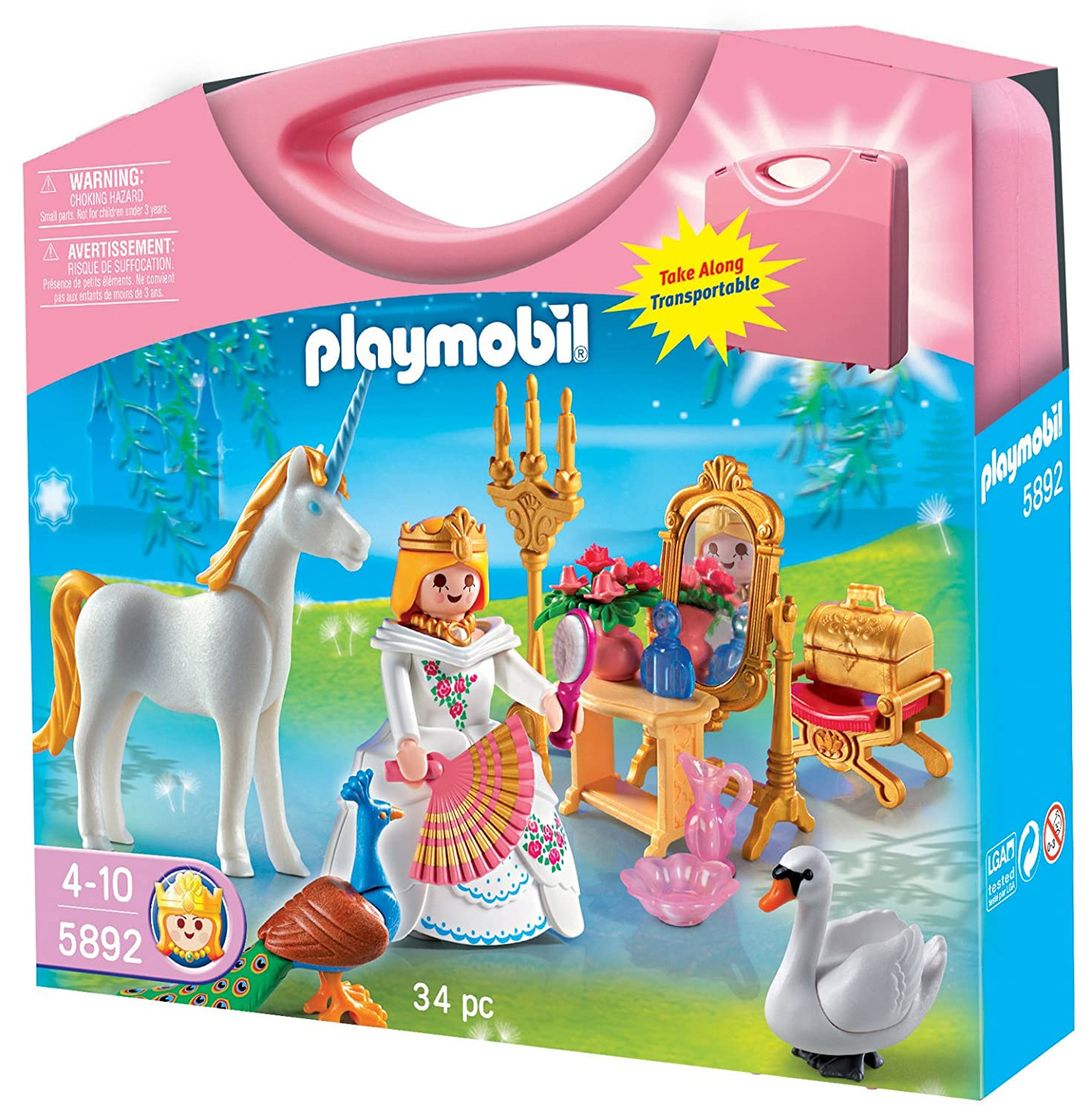 amazoncom playmobil princess carrying case playset toys games