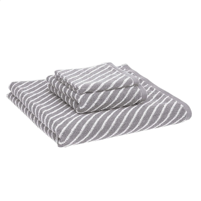 AmazonBasics Reversible Diagonal Stripe Jacquard 3-Piece Towel Set, Scenic Snow/Warm Stone