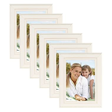 DesignOvation Kieva Solid Wood Picture Frames, Distressed Soft White 5x7, Pack of 6
