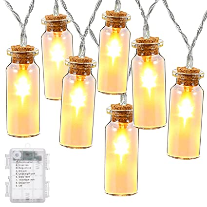 DecorNova String Lights 78 Feet 15 LED Battery Operated Fairy Glass Jar With