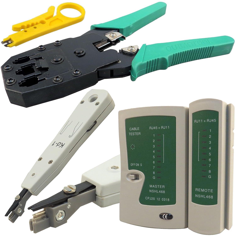 Safekom RJ45 RJ11 Ethernet Cable UTP SSTP FTP Kit Crimper Crimping Tool with Stripper Network Cat5e Cat6 Cat7 Tester Tool Kit Punch Down 2x Screwdrivers Oubao & Black Stripper 10 Modular Connector Splinktech