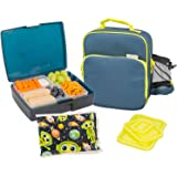 Bentology Lunch Bag and Box Set - Includes Insulated Bag with Handle, Bento Box, 5 Containers and Ice Pack (Night)