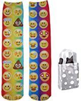 Emoji Faces Junior Womens' Crew Socks & Bag - 2 Piece Gift Set