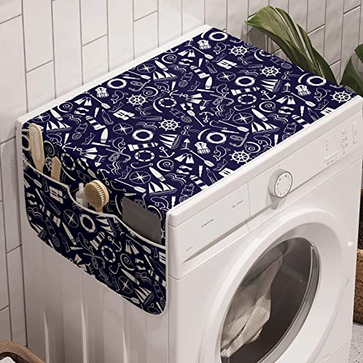 Monochrome Dotwork Illustration with Abstract Nautical Elements Dark Seafoam White 47 x 18.5 Lunarable Starfish Washing Machine Organizer Anti-slip Fabric Top Cover for Washer Dryer