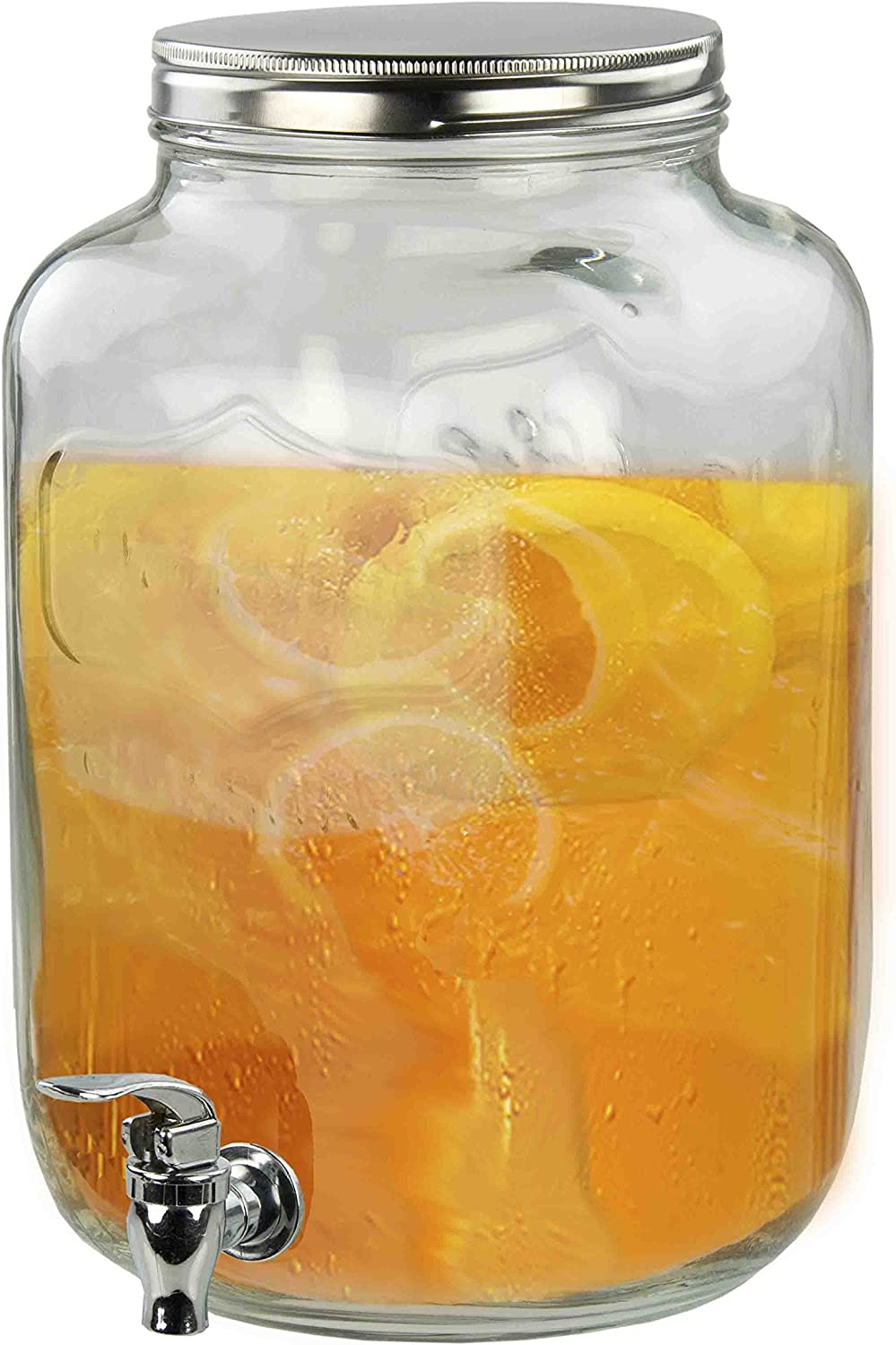Home Basics 8 Liter Leak-Proof Glass Beverage Dispenser with Stainless Steel Lid for Home and Kitchen Party Entertainment Glassware for Water, Juice, Beer, Punch, Iced Tea or Cold Drink, Cle, 8 L