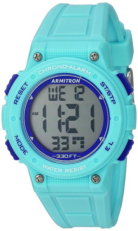Armitron Sport Women's 45/7086LBL Digital Chronograph Light Blue Resin Strap Watch