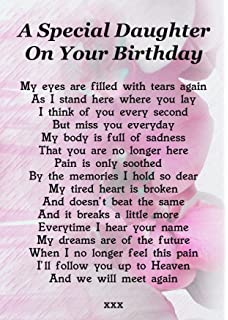 A Special Daughter On Your Birthday Memorial Graveside Poem Keepsake Card Includes Free