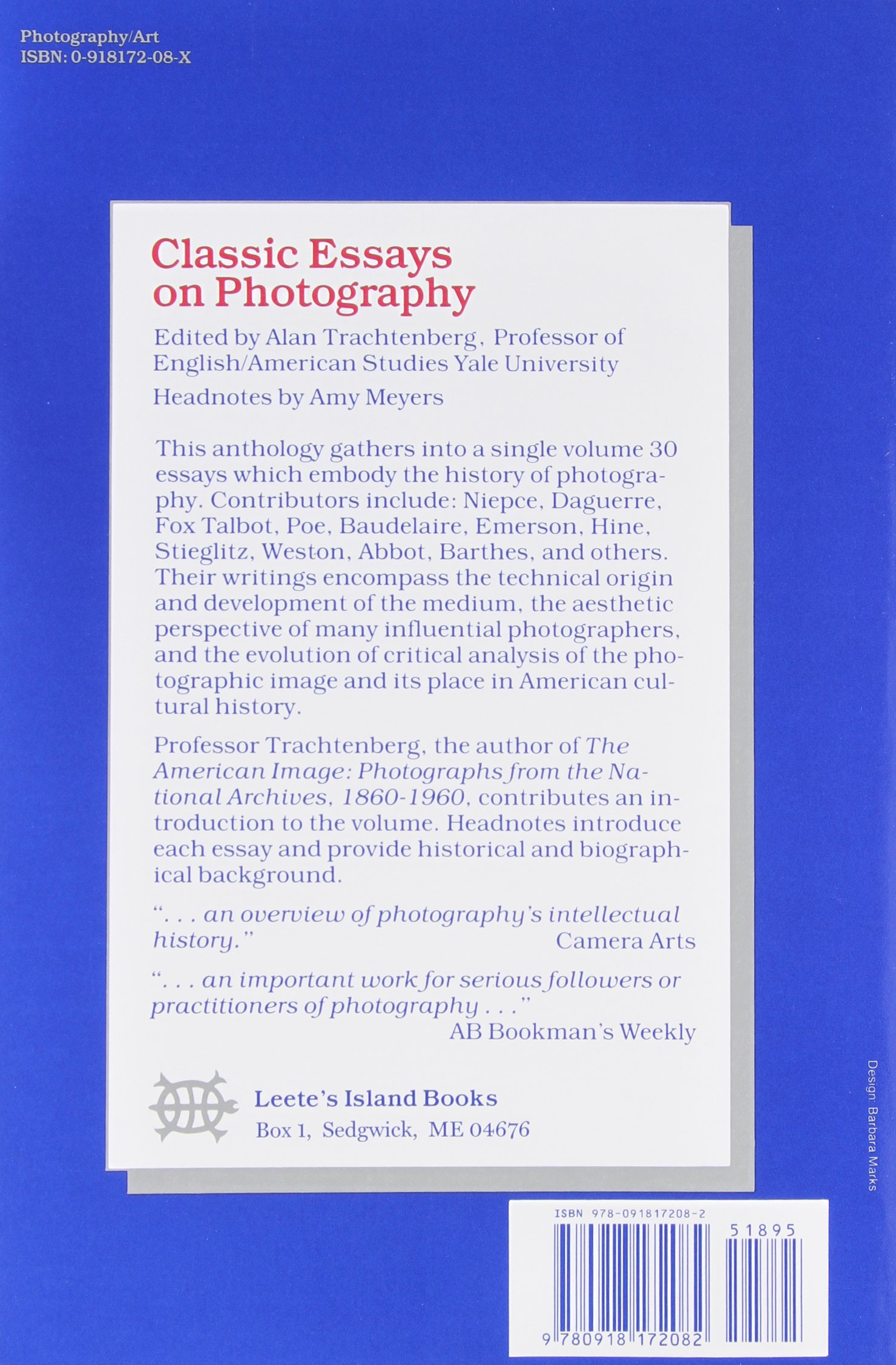 Classic Essays On Photography Alan Trachtenberg   Classic Essays On Photography Alan Trachtenberg   Amazoncom Books Compare And Contrast High School And College Essay also Library Essay In English  American Dream Essay Thesis