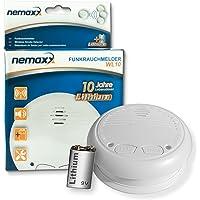 1x Nemaxx WL10 Funkrauchmelder - mit 10 Jahre Lithium Batterie Rauchmelder Feuermelder Set Funk koppelbar vernetzt - nach EN 14604