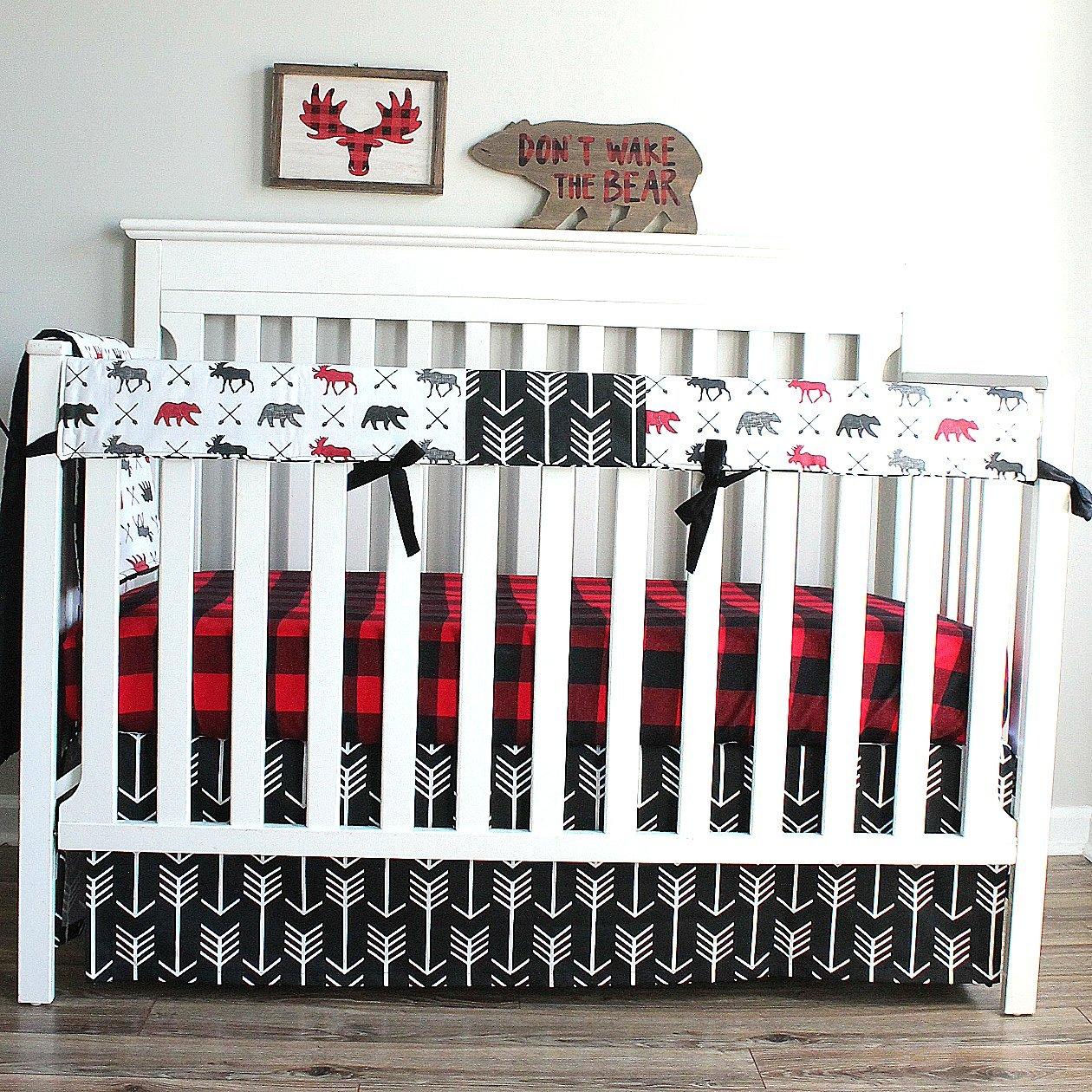 Lumberjack Moose Bear Woodland 3 PC Crib Baby Bedding-Rail Cover, Crib Skirt, Sheet