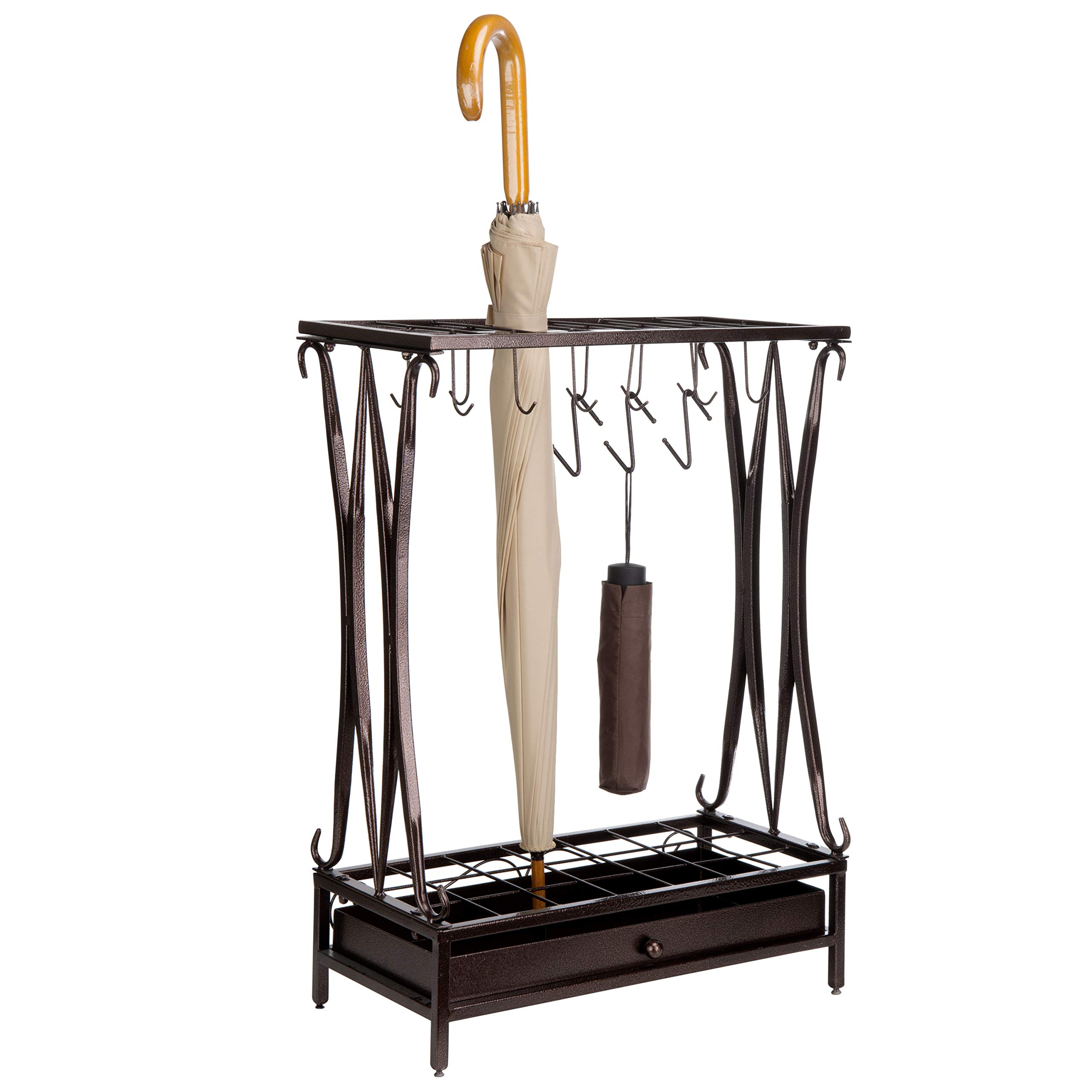 MyGift Brown Metal 21-Slot Umbrella Stand with Removable Drip Tray by MyGift
