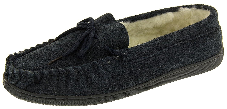 TALLA 43 EU. Footwear Studio Lodgemok Hombre Gamuza Forro de Lana Genuina Zapatillas de Estar por Casa
