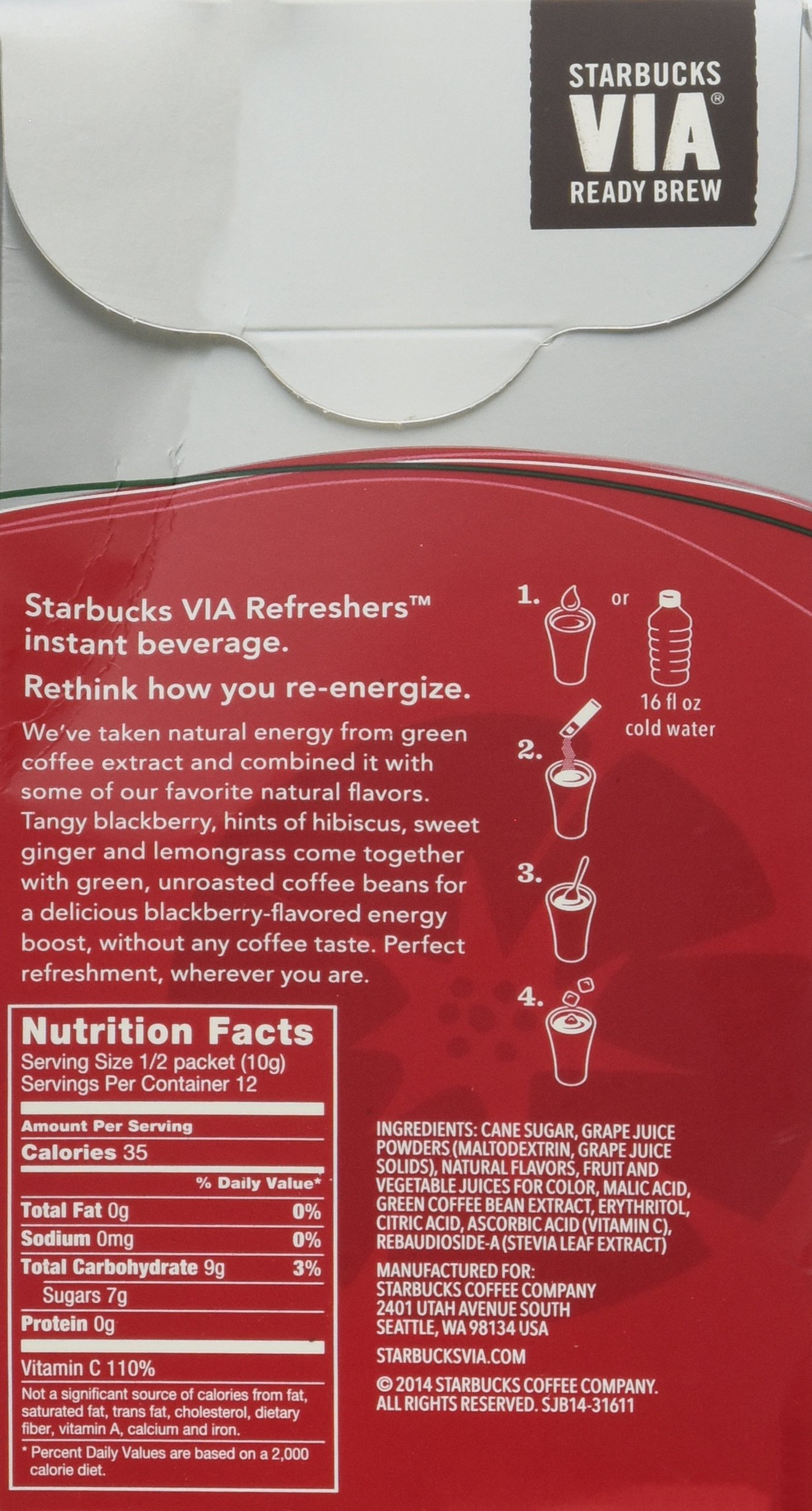 Starbucks Via Instant Refreshers Very Berry Hibiscus 6 Packets