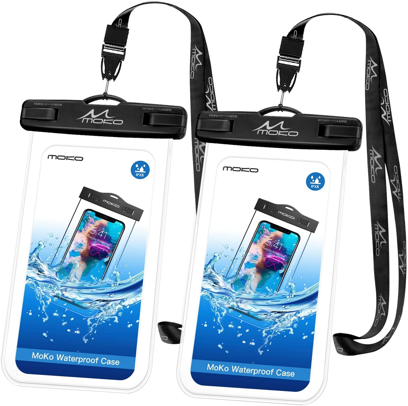 MoKo Waterproof Phone Pouch [2 Pack], Underwater Clear Phone Case Dry Bag with Lanyard Compatible with iPhone 11/11 Pro Max, X/Xs/Xr/Xs Max, 8/7/6 Plus, Samsung S10/S9/S8 Plus, S10e, S20, Note 10/9/8