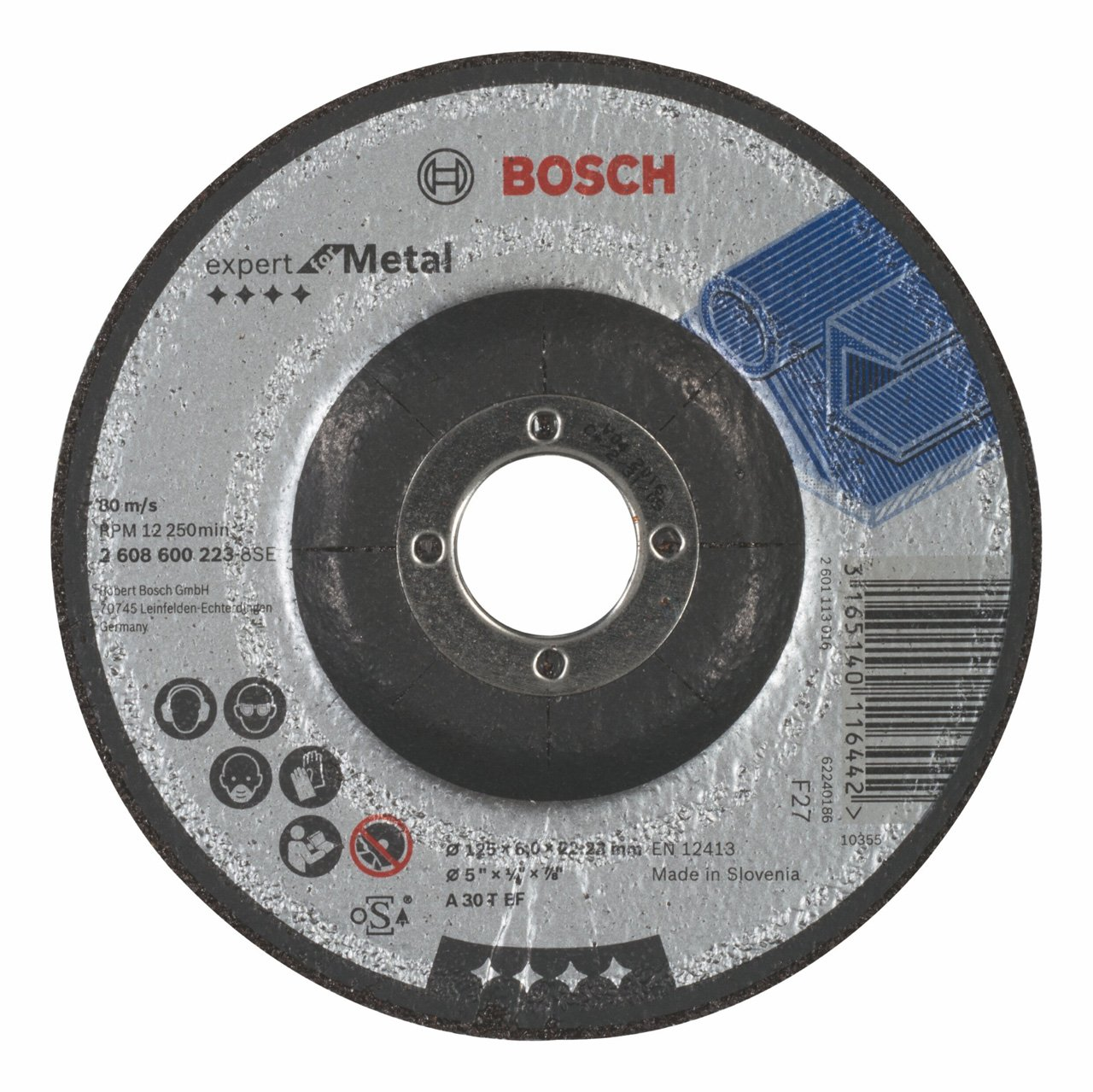 A 30 T BF 6,0 mm pack de 1 125 mm Bosch 2 608 600 223 Disco de desbaste acodado Expert for Metal