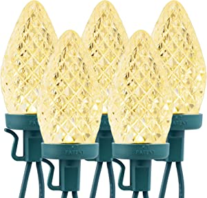 C9 Led Christmas String Lights, 25 Led 16 Feet Outdoor Waterproof Strawberry Lights, Extendable Green Wire String Lights for Indoor Outside Patio Wedding Party Commercial Tree decor, Warm White