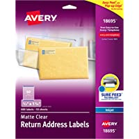 """Avery Matte Frosted Clear Return Address Labels for Inkjet Printers, 2/3"""" x 1-3/4"""", 600 Labels (18695)"""
