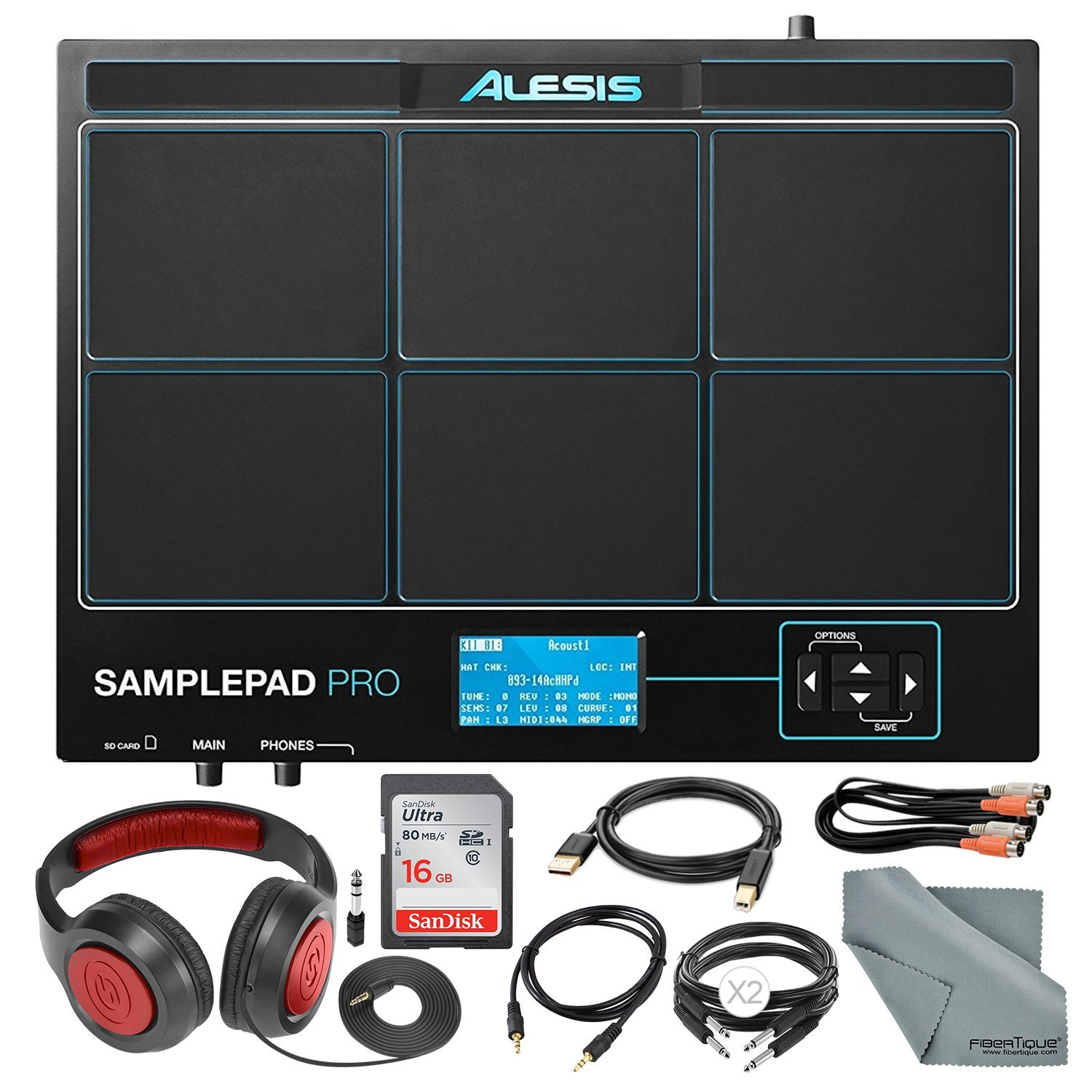 Alesis SamplePad Pro 8-Pad Percussion and Triggering Instrument with Samson Headphones, 16GB Card, and Assorted Cables Accessory Bundle