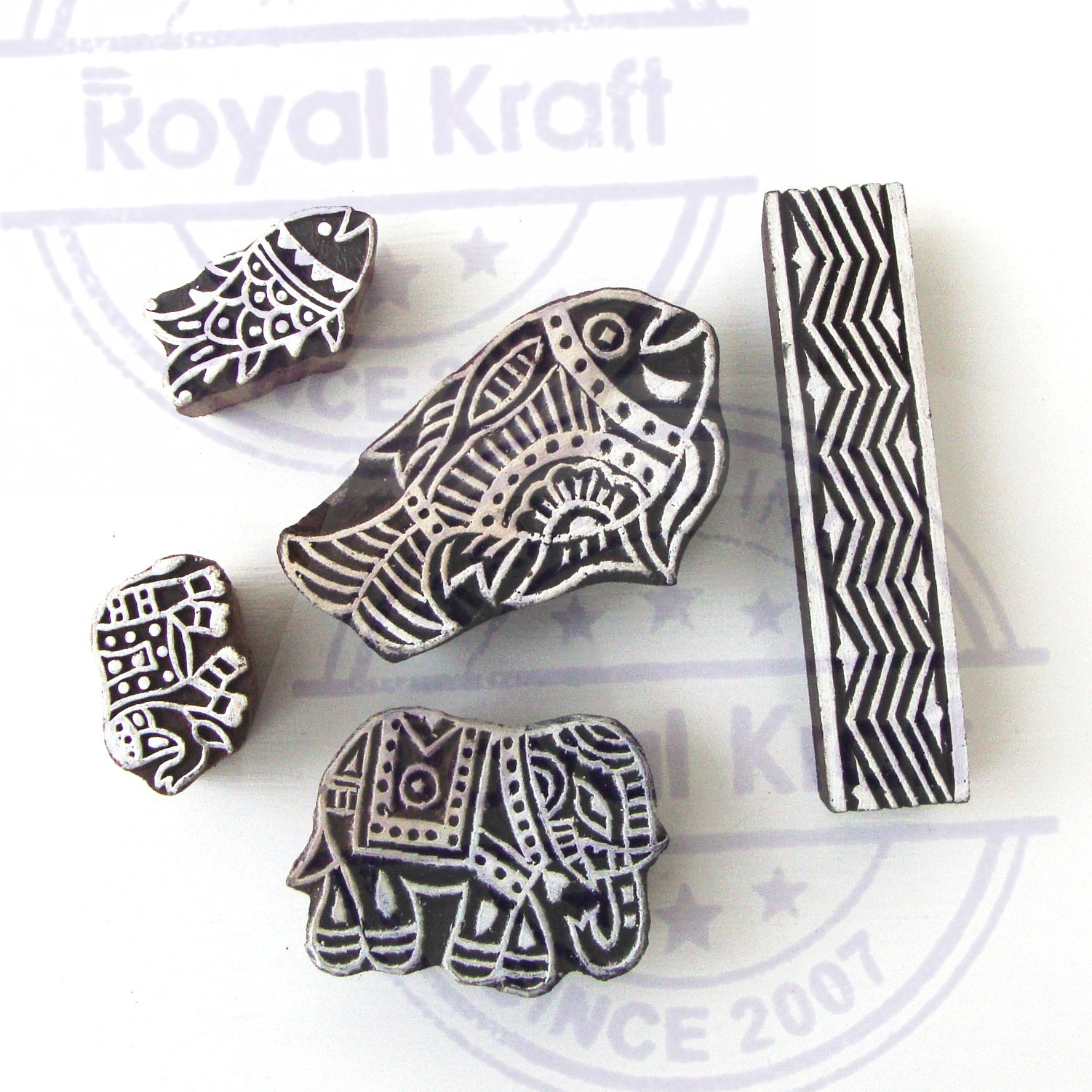 Asian Elephant and Fish Motif Wood Print Stamps (Set of 5) by Royal Kraft (Image #2)