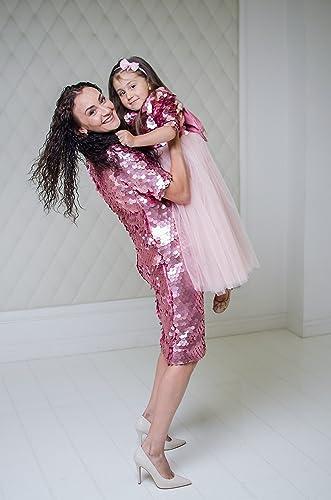 1c8bf6d729e7 Amazon.com  Pink Mother daughter matching dresses Pink tutu sequin ...