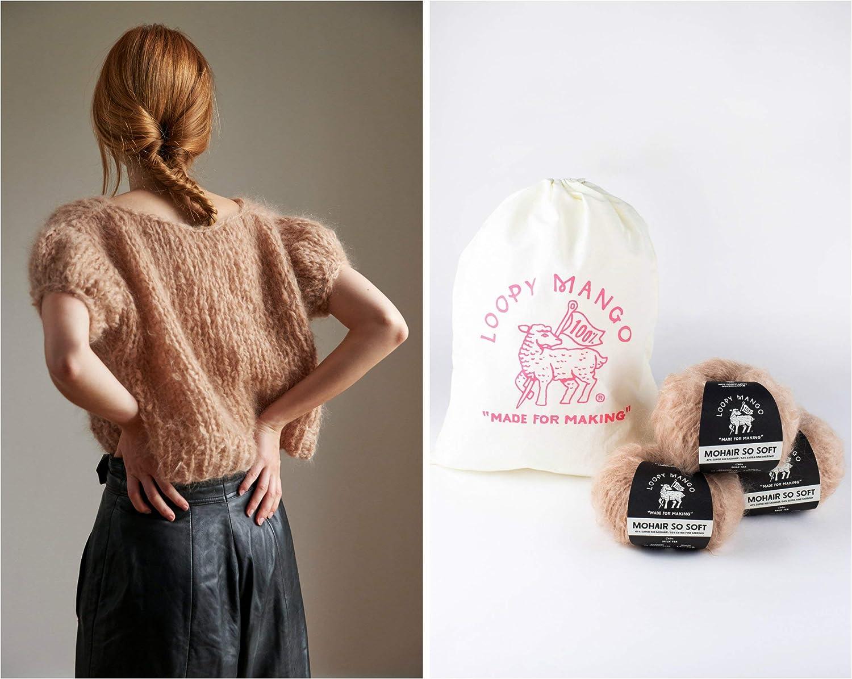 Mohair So Soft Loopy Mango DIY Knit Kit Medium//Large Puff Sleeve Top Autumn Leaves