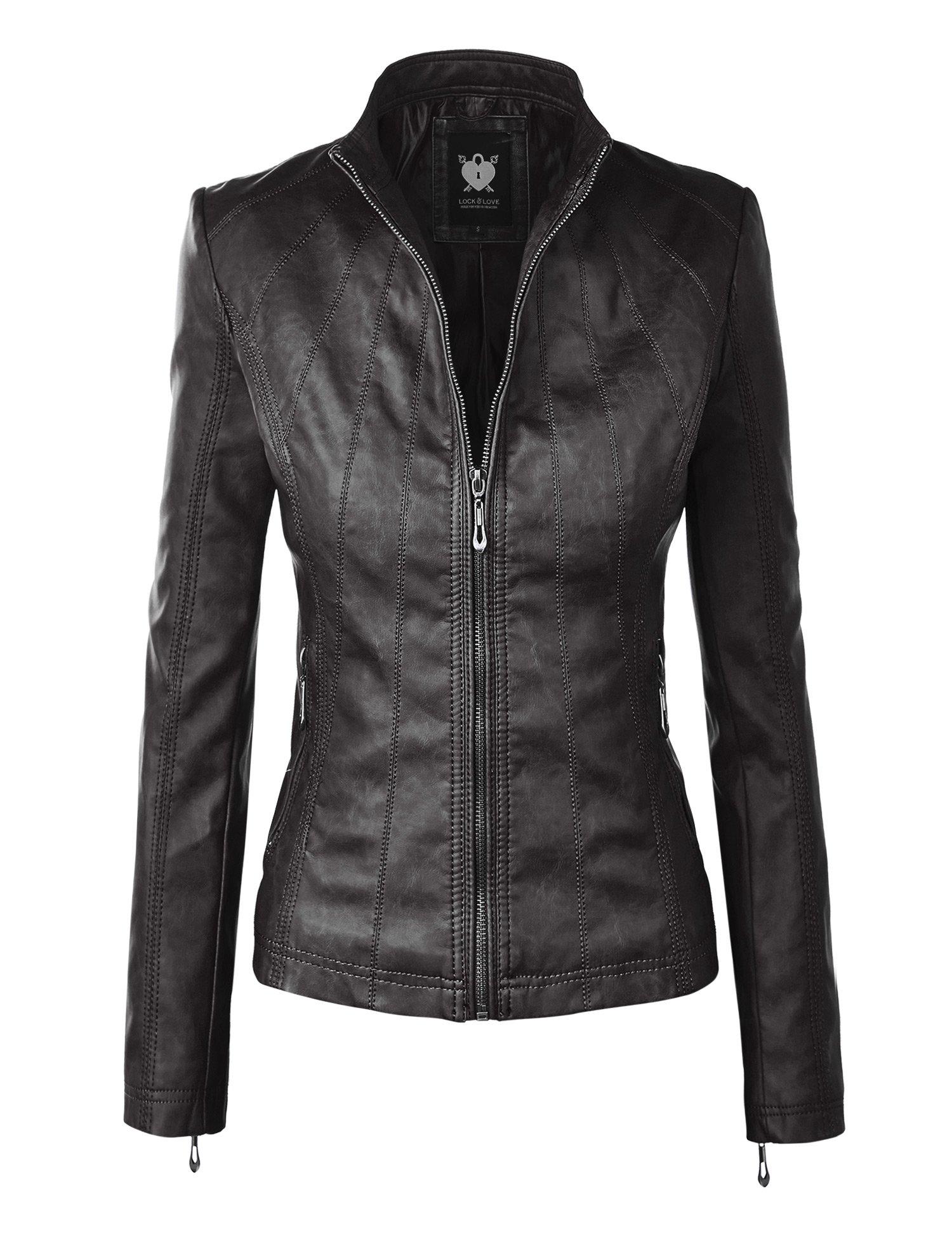 WJC877 Womens Panelled Faux Leather Moto Jacket XL BLACK