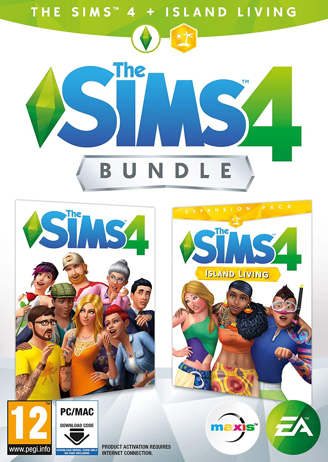 The Sims 4 Plus Island Living Deluxe Upgrade Bundle Digital Download Code In A Box Pc Dvd Amazon Co Uk Pc Video Games