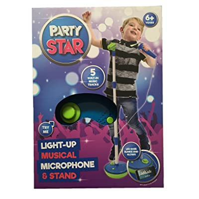 Party Star Light Up Microphone Musical & Stand Bleu