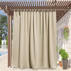 RYB HOME Outdoor Curtain for Patio - Extra Wide Curtains Insulated Tab Top Blackout Curtain Repel Summer Heat Privacy Outside Curtains for Pool Hut Cabin, Wide 100 x Long 108 inches, Cream Beige